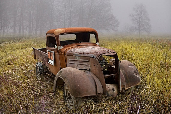 old chevy truck wreck for sale in the morning fog on a grassy. Black Bedroom Furniture Sets. Home Design Ideas