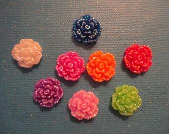 Kawaii small glitter rose decoden deco diy cabochon charms  8 pcs---USA seller