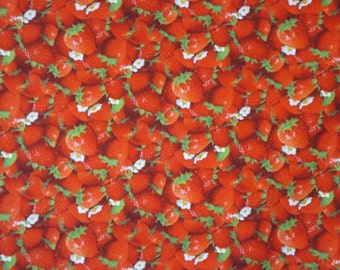 SPECIAL--Red and White Packed Strawberry Print Pure Cotton Fabric--One Yard