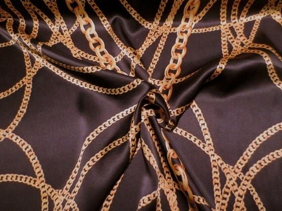 Gold On Black Chain Print Pure Silk Charmeuse Fabricone Yard