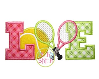 Tennis Love  Applique Design For Machine Embroidery INSTANT DOWNLOAD now available