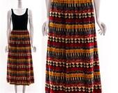Vintage Rainbow KLIMT Art Print Linen Safari Midi Skirt Full Skirt Long Skirt Maxi Skirt Summer Festival Hippie Boho Small Medium
