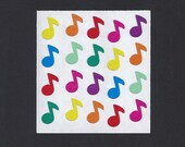 Sandylion Stickers: Music Notes - Rainbow Colored Musical Eighth Note Mini Small Red Orange Yellow Green Blue Purple Pink Sticker Collection