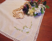 ON RESERVE for JULIE Lovely Vintage Ladies Hankie,  Shades of Blue Flowers, Silk Embroidery