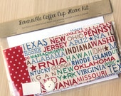 DIY Coffee Cup Sleeve Sewing Kit - State Names and Red Dots - Ready to Ship