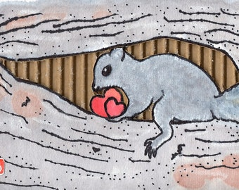 Safekeeping (Original Mixed-Media Squirrel Painting) Trackable Express Shipping