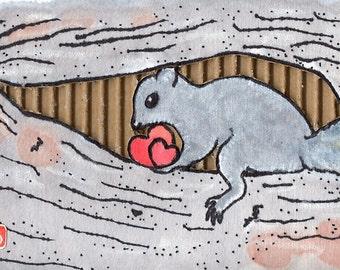 Safekeeping (Original Mixed-Media Squirrel Painting)
