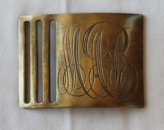 Vintage Pettibone Bros Brass Belt Buckle