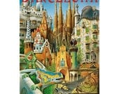 BARCELONA 17-Handmade Leather Postcard / Note Card / Fridge Magnet - Travel Art