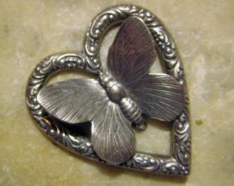 Vintage Heart and Butterfly, Antiqued Silver Plated Ornate Stamped Brass Jewelry Finding or Decorative Trim Embellishment, 45x40mm, 1 pc.