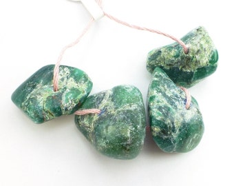 "VERDITE / Fuchsite FOCaL BEaD. Natural. Xxl GiGantic. ""African Jade"". Deep Green. Nugget Beads 4 pc. 205 cts. 13x26 to 17x29 mm (Ver109)"