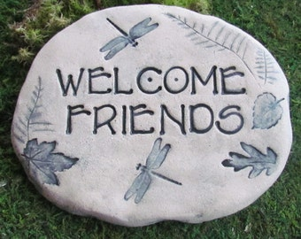 WELCOME FRIENDS Garden plaque. Art tile, Dragonflies woodland Leaves. Arts & Crafts style font / lettering / text. Outdoor Ceramic tile