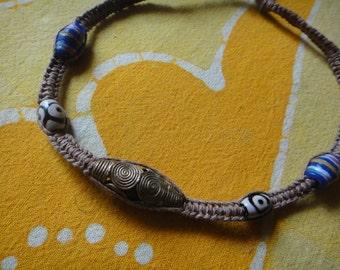 African Beaded Hemp Necklace / Choker Tribal Mens Jewelry
