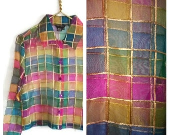 Silk Organza color block sheer blouse SALE