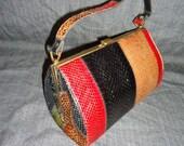 Striped Lizard Snakeskin Vintage 1950's Barrel Handbag Purse