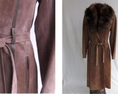 Vintage 70s Coat Suede Leather Lamb Collar Brown Full Length Size S / Small