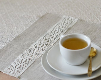 Linen Placemats Set 4 Items Natural Tan With White Lace Placemats Ecru Placemats
