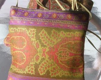 Cross Body Bag, Anichini fabric, Rust, Orange, Gold, Purple