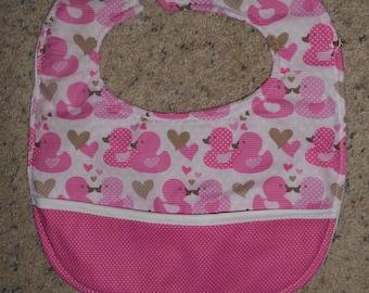 Pink Duckies and Polka Dots Bib