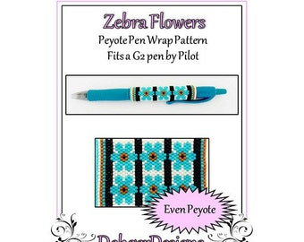 Bead Pattern Peyote(Pen Wrap/Cover)-Zebra Flowers
