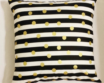 1 Black white striped gold polka dots pillow cover sham geometric design sofa throw couch bed 16x16