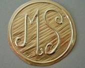 10 Gold Personalized Metal Stamp Seal Monogram Wedding Anniversary Birthday Medallions