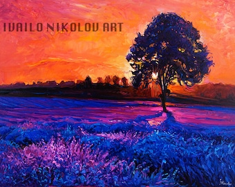 Lavender Sunset2 Original Oil Painting on Canvas 27x23 Landscape Painting Original Art Impressionistic Oil on Canvas by Ivailo Nikolov