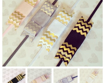 Metallic Chevron Bow Headbands: Set of 4 Chevron Bows on Skinny Bands, Alligator Clips, French Barrettes