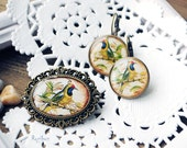 Bird vintage set earrings and brooch - green earrings, yellow brooch, birds jewelry, brass jewelry, bright for girl for her - made to order