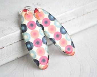 Pop art print earrings - dangle earrings pop art, pink yellow blue pop art, summer dangle earrings, pop art resin earrings - ready to ship