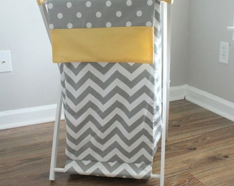 Gray and Yellow Chevron Baby Hamper