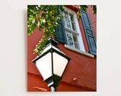 Charleston Photography - Southern Home Decor - Coral and Teal Print - Street Light - Lamp - South Carolina Art - Architecture - Window Photo