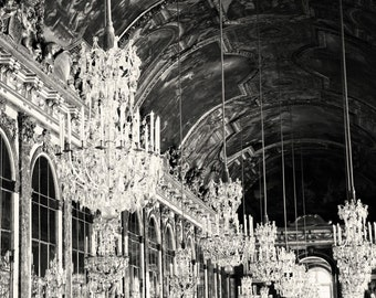 Versailles Photography - Hall of Mirrors Chandelier Print - Black and White French Decor Elegant Gallery Wall Art France Photo Dining Room