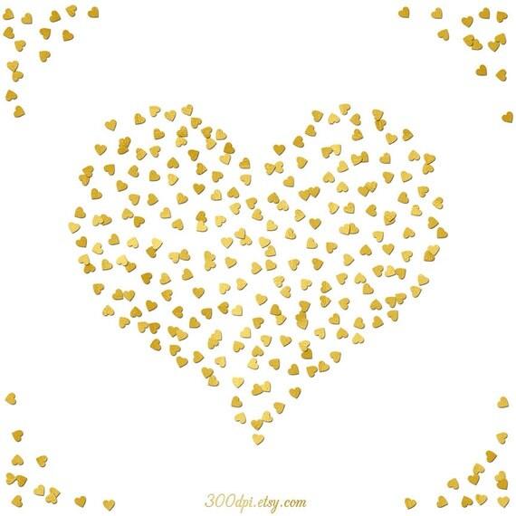 heart gold foil confetti digital paper border 12x12 inch