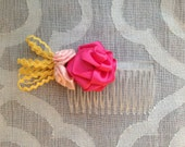 Ribbon Rose Hair Comb - Pink Yellow Rick-Rack