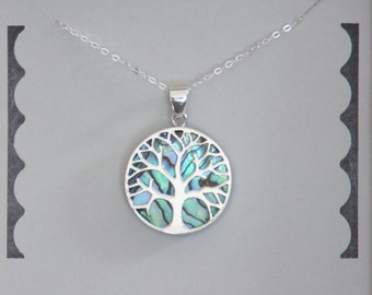 Sterling Silver Tree Necklace, Tree of Life, Family Tree, Mother of Pearl, Seashell Necklace, Birthday Gift, Mother's Day Gift