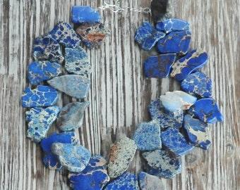 Blue Sea Sediment Jasper, Blue Necklace, Handmade Necklace, Statement Necklace, Sterling Silver, Chunky Necklace, Birthday Gift