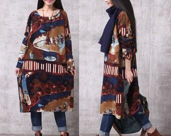 Loose Fitting Long Maxi Dress, Women Dress,Women Clothing, Tunic Dress LYQ088