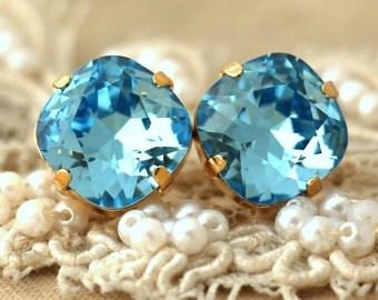 Aquamarine Stud earrings Light Blue Swarovski earrings Bridesmaids Blue sky earrings Bridesmaids earrings gift for her earrings by iloniti