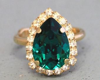 Emerald Ring Green Emerald Swarovski Crystal Ring Silver Emerald Ring Gift for her Emerald Cocktail Ring Wedding Emerald Statement Ring