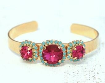 Pink Turquoise Cuff Bracelet Swarovski Cuff Bracelet Fuchsia Turquoise Rose gold Bracelet Gift For Her, Bridesmaids Swarovski Bracelets