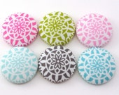 Summer Medallions -  Pushpins - Magnets - Fabric Sewing Buttons - Craft Flat Buttons - Fabric Covered Pink Green Scuba Circles