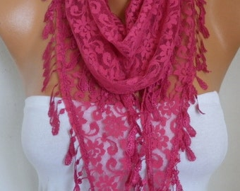 Hot Pink Lace Scarf Spring Summer Shawl Cowl Scarf Bridesmaid Gift Gift Ideas For Her Women's Fashion Accessories