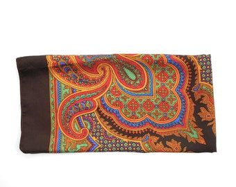 Vintage Scarf Liberty of London Silk Square Orange Green Blue Paisley on Brown Border 26 by 27 Inches Womens Fashion Accessory