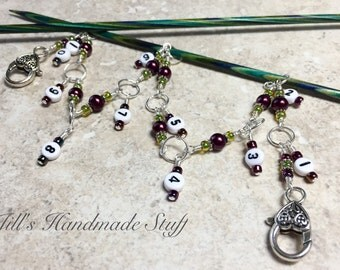 Knitting Row Counter Chain- Beaded Number Stitch Markers- Chain Style Row Counter- Gift for Knitters