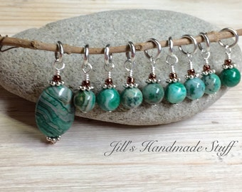 Green Agate Stone Stitch Markers- SNAG FREE Knitting Stitch Holders- Knitting Gift