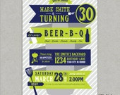 Beer BBQ - 21st, 30th, 40th, 50th Birthday Party Invitation - any age - DIY - PRINTS