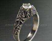 CRYSTAL PEAKS .50ct. Moissanite in 14k White Gold. Engagement Wedding Ring Set