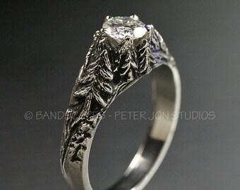CRYSTAL PEAKS .50ct. Moissanite in 14k White Gold. Engagement Wedding Ring Set, Pine, Pine Tree Ring, Mountain Ring