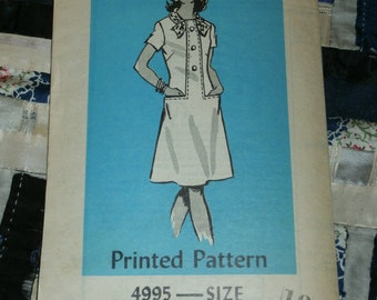 "1980s Anne Adams Pattern 4995 Misses Dress Size 18, Bust 40"", Waist 31"", Hips 42"", Uncut"